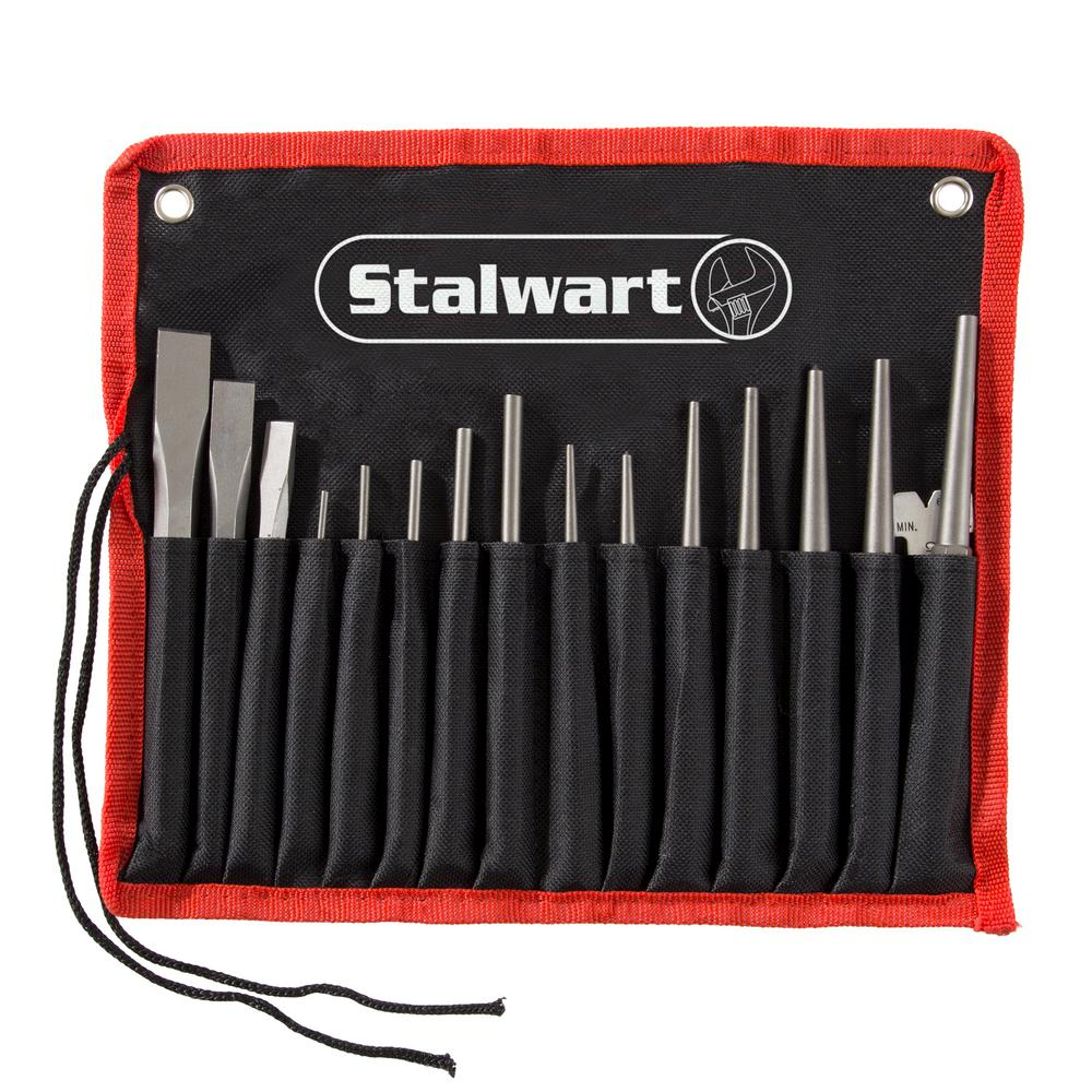 Set of 16 Mechanics Punch and Chisel Set Industrial Pin Tapered Center Punch
