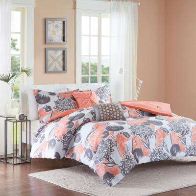 Lily 4-Piece Coral Twin/Twin XL Floral Comforter Set