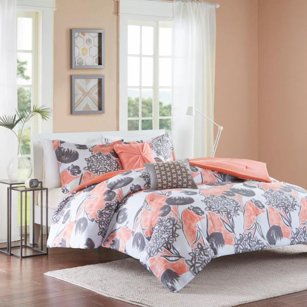 New Twin Xl Full Queen Bed Coral Gray White Painted Floral 5 Pc Comforter Set Home Garden Bedding