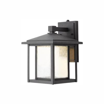 Black Outdoor Seeded Glass Dusk to Dawn Wall Lantern Sconce