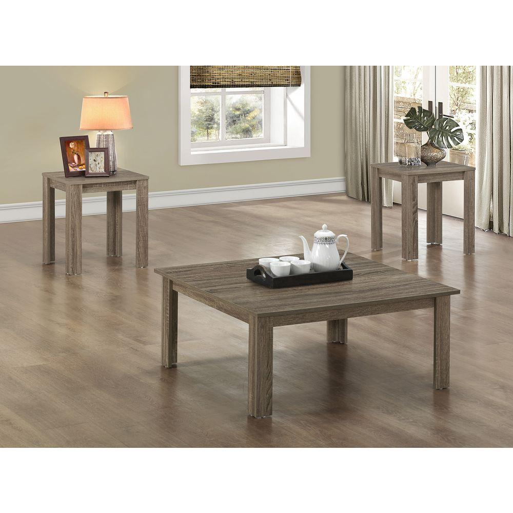 Monarch Specialties Dark Taupe 3 Piece Nesting End Side Table Set