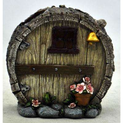Solar Powered Integrated LED Round Log Gnome House Outdoor Landscape Garden Light