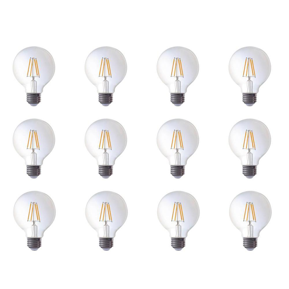 40-Watt Equivalent G25 Globe Dimmable Amber Glass Filament LED Light Bulbs