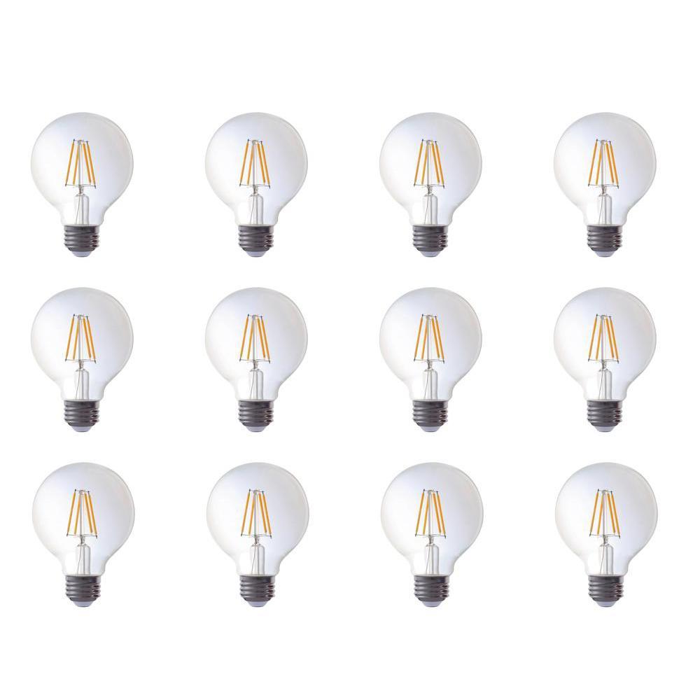 40-Watt Equivalent G25 Globe Dimmable Amber Glass Filament LED Light Bulbs Warm White 2700K (12-Pack)