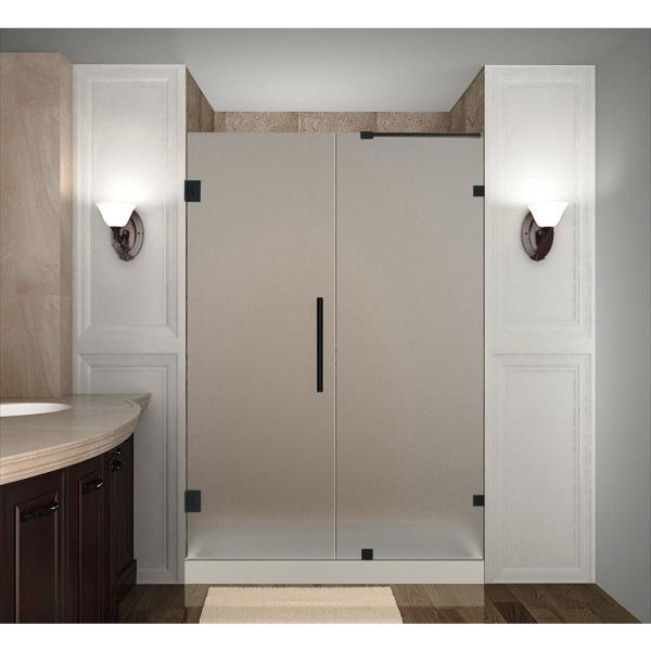 Aston Nautis 70 25 71 25 In X 72 In Frameless Hinged Shower Door With Frosted Glass In Matte Black Sdr985f Mb 71 10 The Home Depot