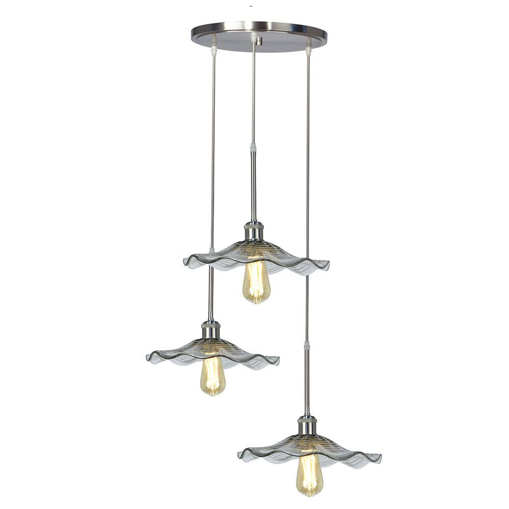 Indonesia Collection 3-Light Vintage LED Bulb Satin Nickel Pendant