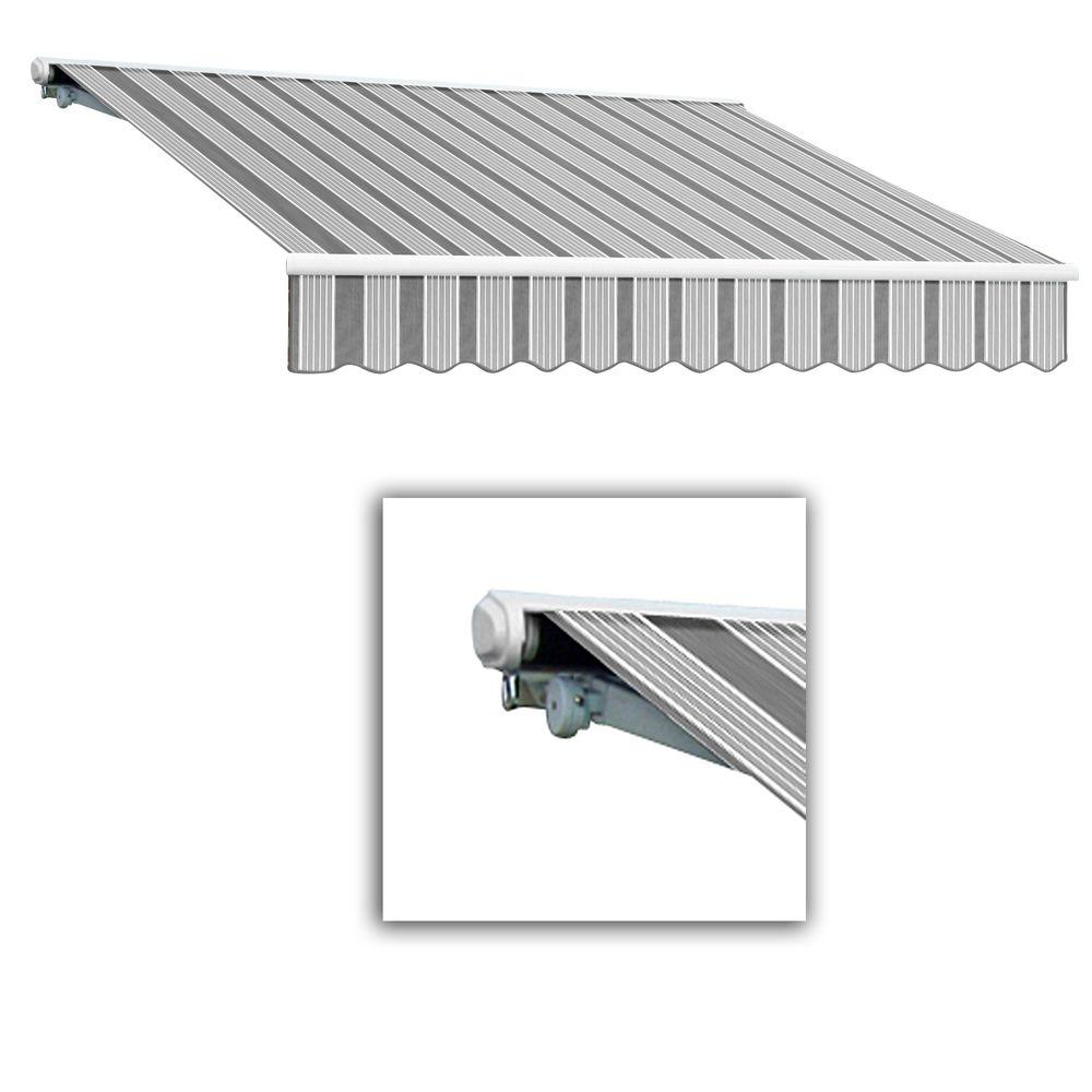 AWNTECH 14 ft. Galveston Semi-Cassette Left Motor with Remote Retractable Awning (120 in. Projection) in Gun/Gray