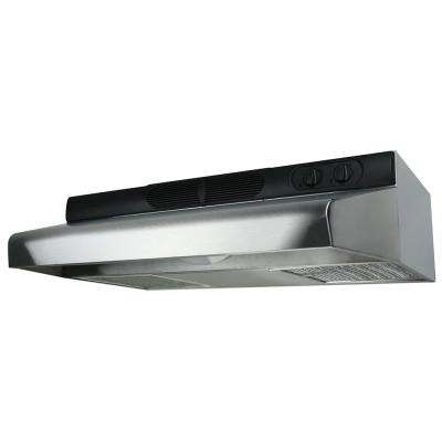 Deluxe Quiet ENERGY STAR 36 in. 280 CFM Under Cabinet Ducted Range Hood with LED Light in Stainless Steel