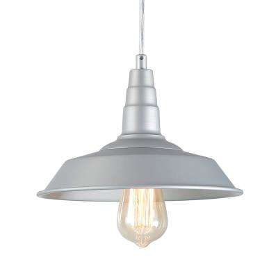 1-Light Silver Indoor Farmhouse Pendant