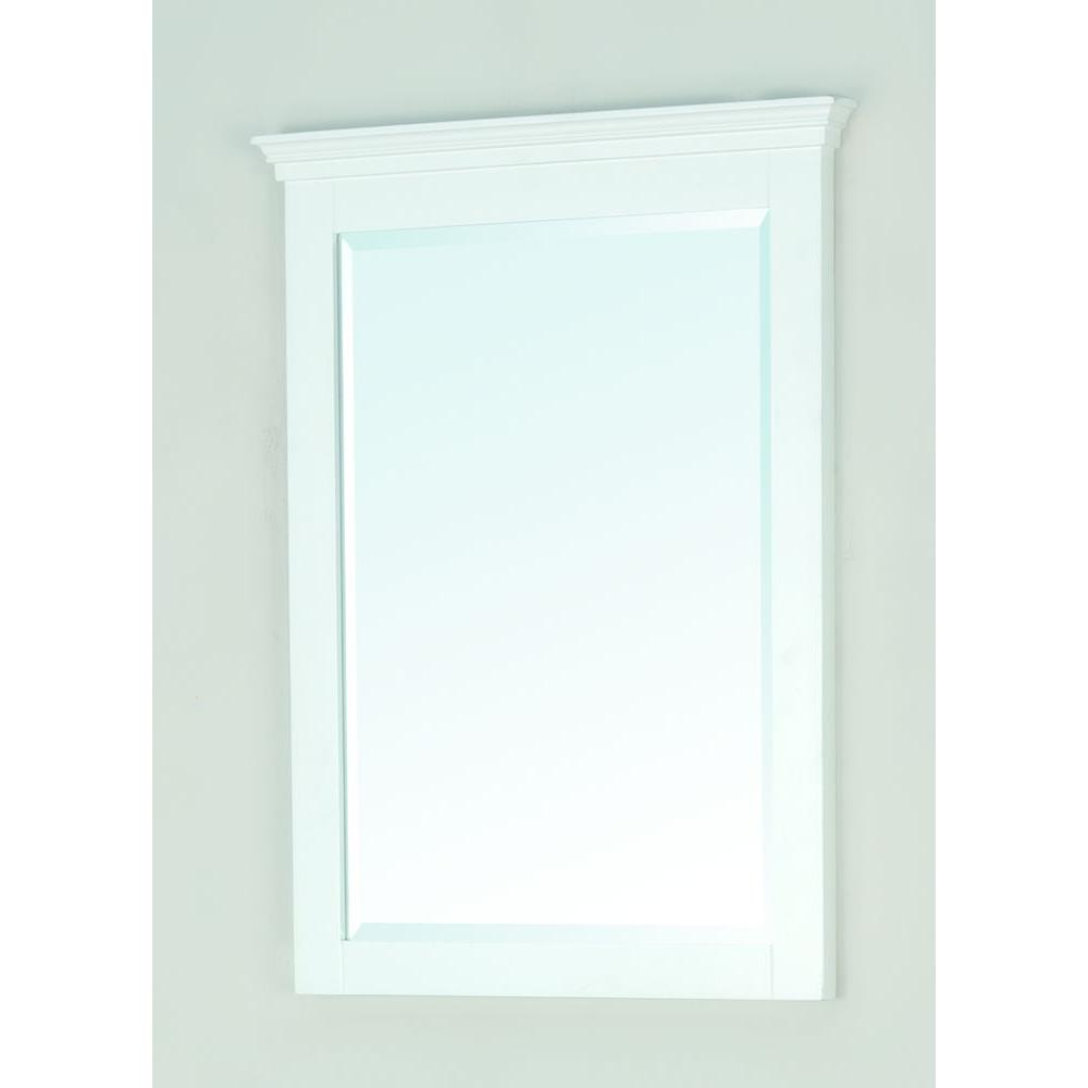 Pegasus Carrabelle 31 in. x 23 in. Framed Wall Mirror in Glacier White-DISCONTINUED