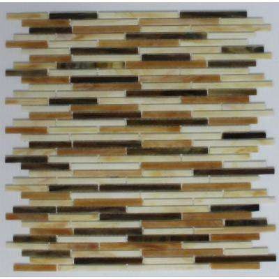 12 in. x 12 in. x 8 mm Tile Esque White and Brown Stix Stained Glass Mesh-Mounted Mosaic Tile