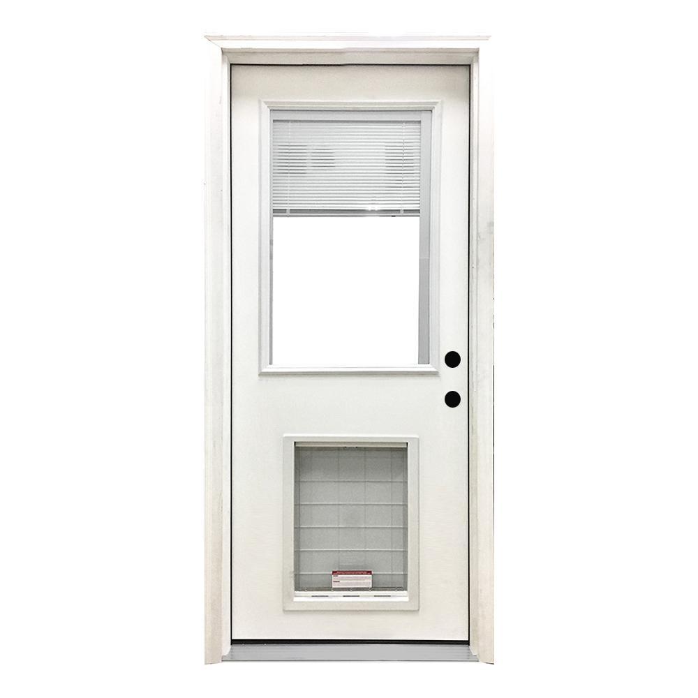 32 in. x 80 in. Classic Clear Mini-Blind LHIS White Primed Fiberglass Prehung Front Door with SL Pet Door