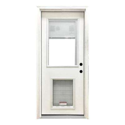 32 in. x 80 in. Classic Mini-Blind LHIS White Primed Textured Fiberglass Prehung Front Door with SL Pet Door