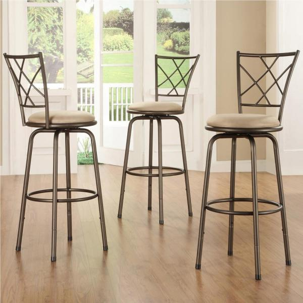 Adjustable Height Brown Swivel Cushioned Bar Stool Set Of 3 40855c971w 3a The Home Depot
