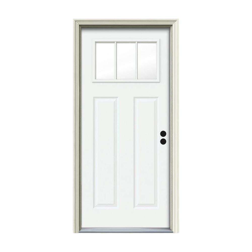 30 in. x 80 in. 3 Lite Craftsman White Painted Steel Prehung Left-Hand Inswing Front Door w/Brickmould