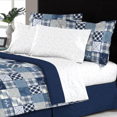 Lorena Reversible 6-Piece Blue Modern Patchwork Twin Bed in a Bag Set