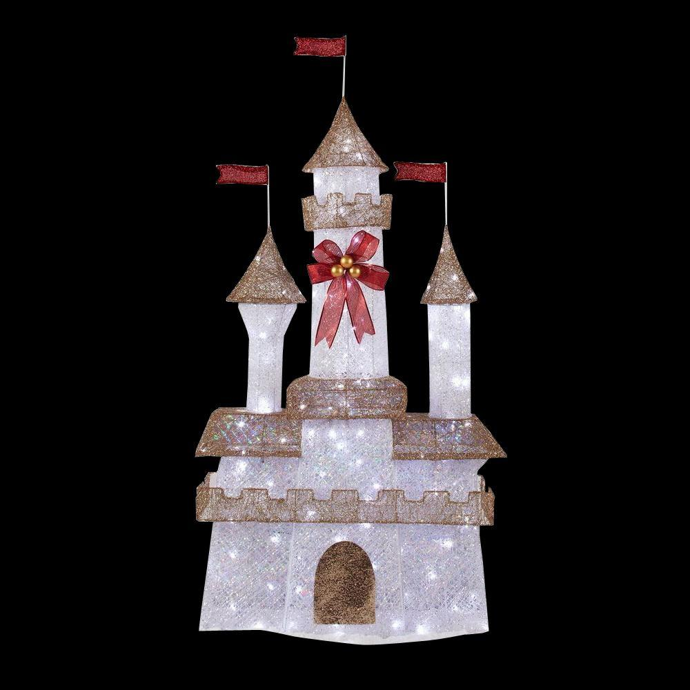 Home accents holiday 6 ft pre lit twinkling castle ty373 for Holiday lawn decorations