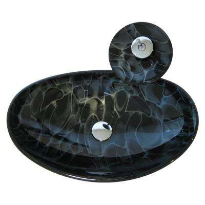 Vessel Sink in Black with Faucet in Chrome