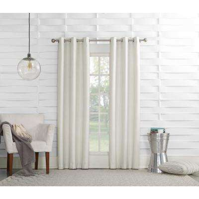 Tom 40 in. W x 95 in. L Ivory Thermal lined Pole Top Curtain