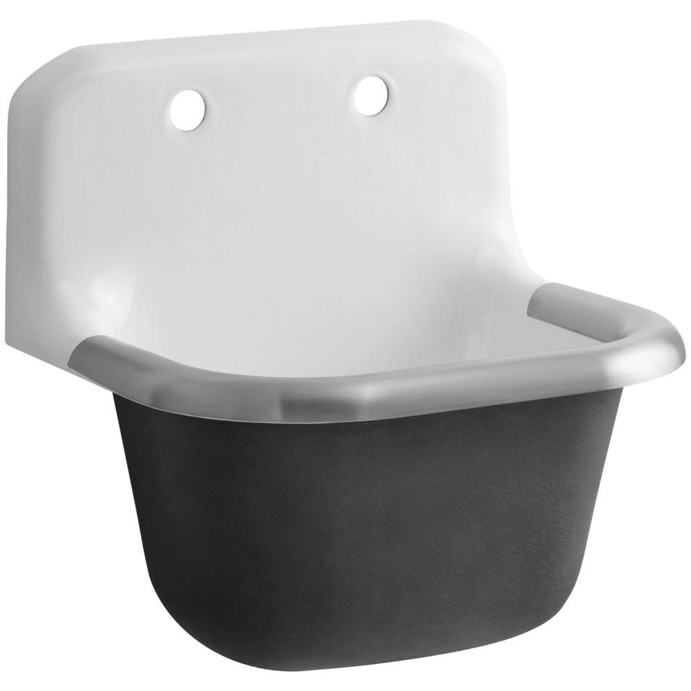 KOHLER Bannon 22-1/4 in. x 18-1/4 in. Cast-Iron Service Sink in ...