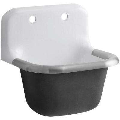 Bannon 22-1/4 in. x 18-1/4 in. Cast-Iron Service Sink in White