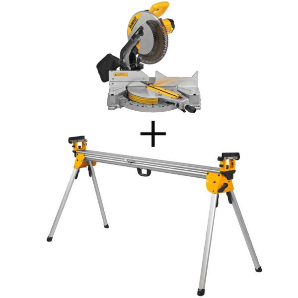 15 Amp Corded 12 in. Compound Single Bevel Miter Saw with Bonus Heavy Duty Miter Saw Stand
