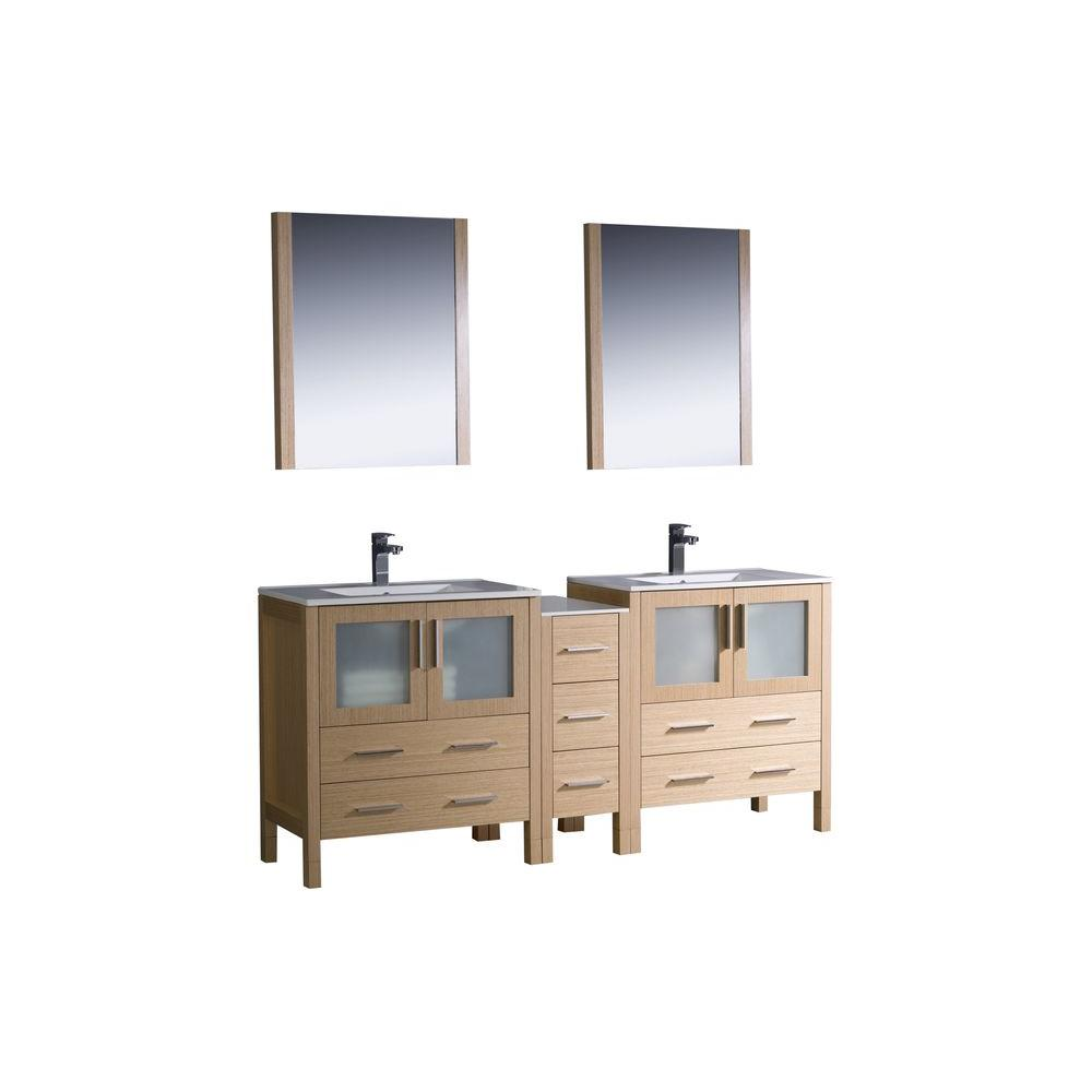 Fresca Torino 72 in. Double Vanity in Light Oak with Ceramic Vanity Top in White with White Basins and Mirrors