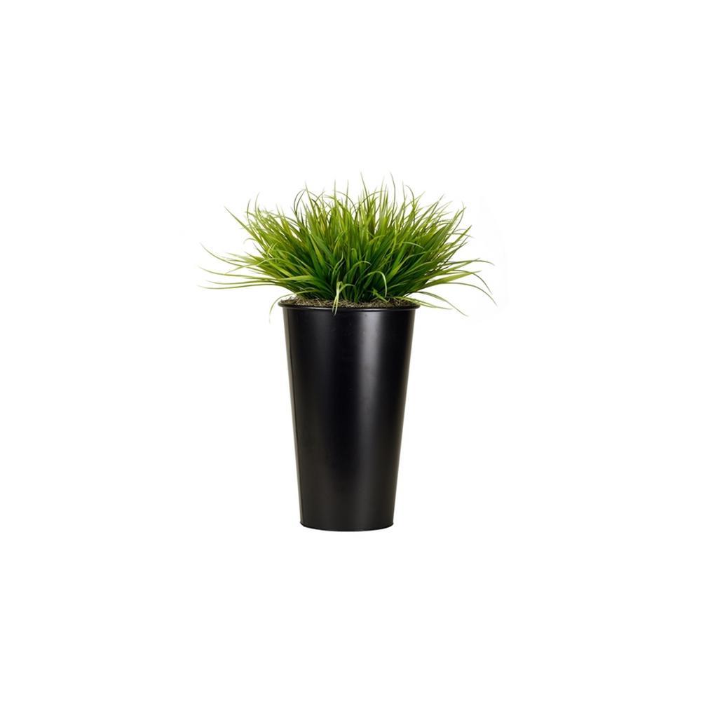 D&W Silks Indoor Wild Grass in Tall Round Metal Planter