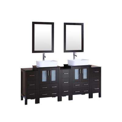 84 in. W Double Bath Vanity in Espresso with  Glass Vanity Top with White Basin and Mirror