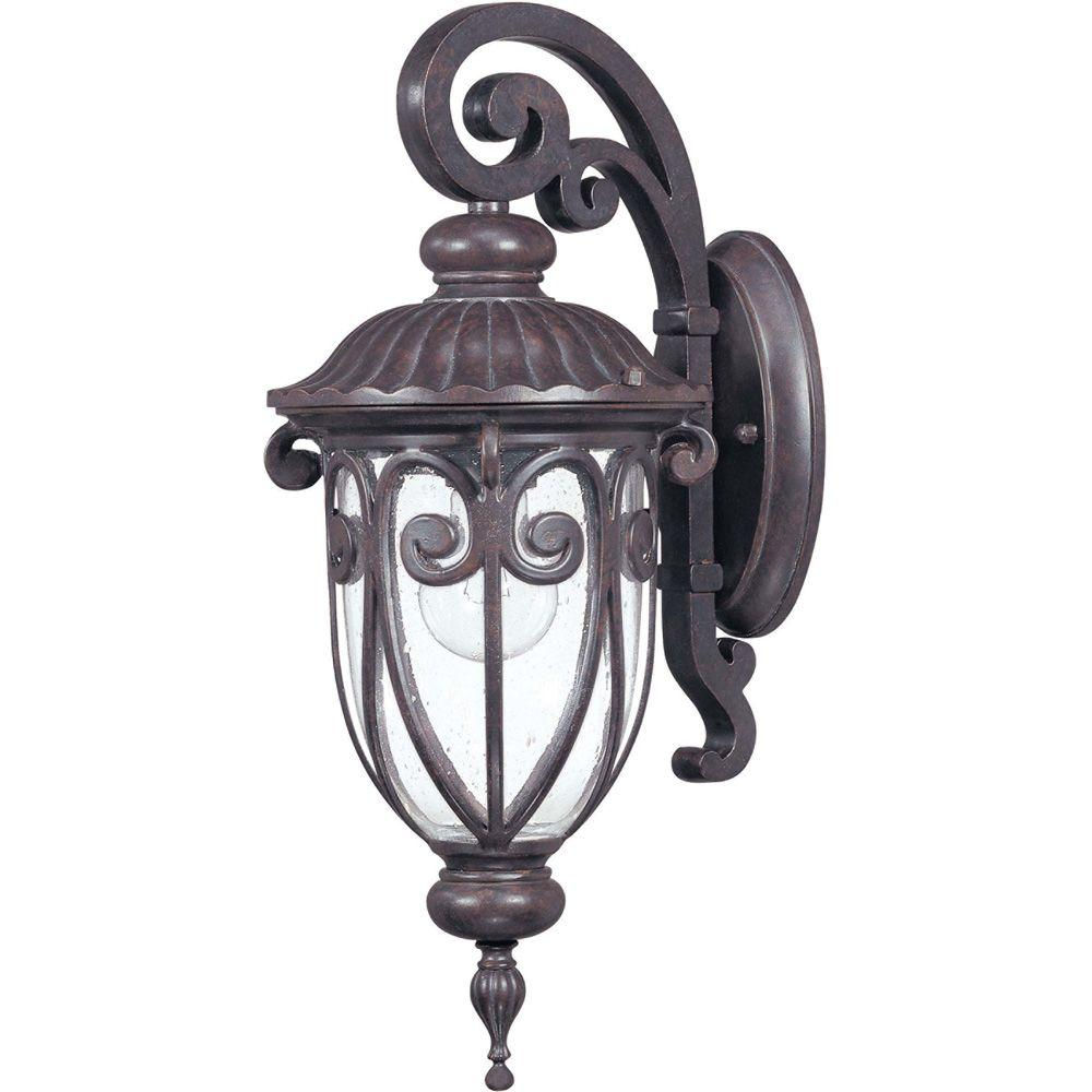 Glomar 1-Light Outdoor Burlwood Small Wall Lantern Arm Down with Seeded Glass