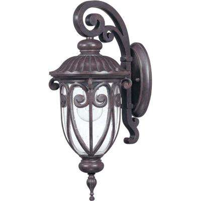 1-Light Outdoor Burlwood Small Wall Lantern Arm Down with Seeded Glass