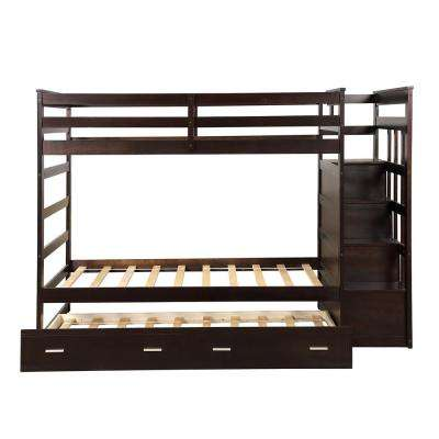 Espresso Twin over Twin Bunk Bed with Trundle and Drawers