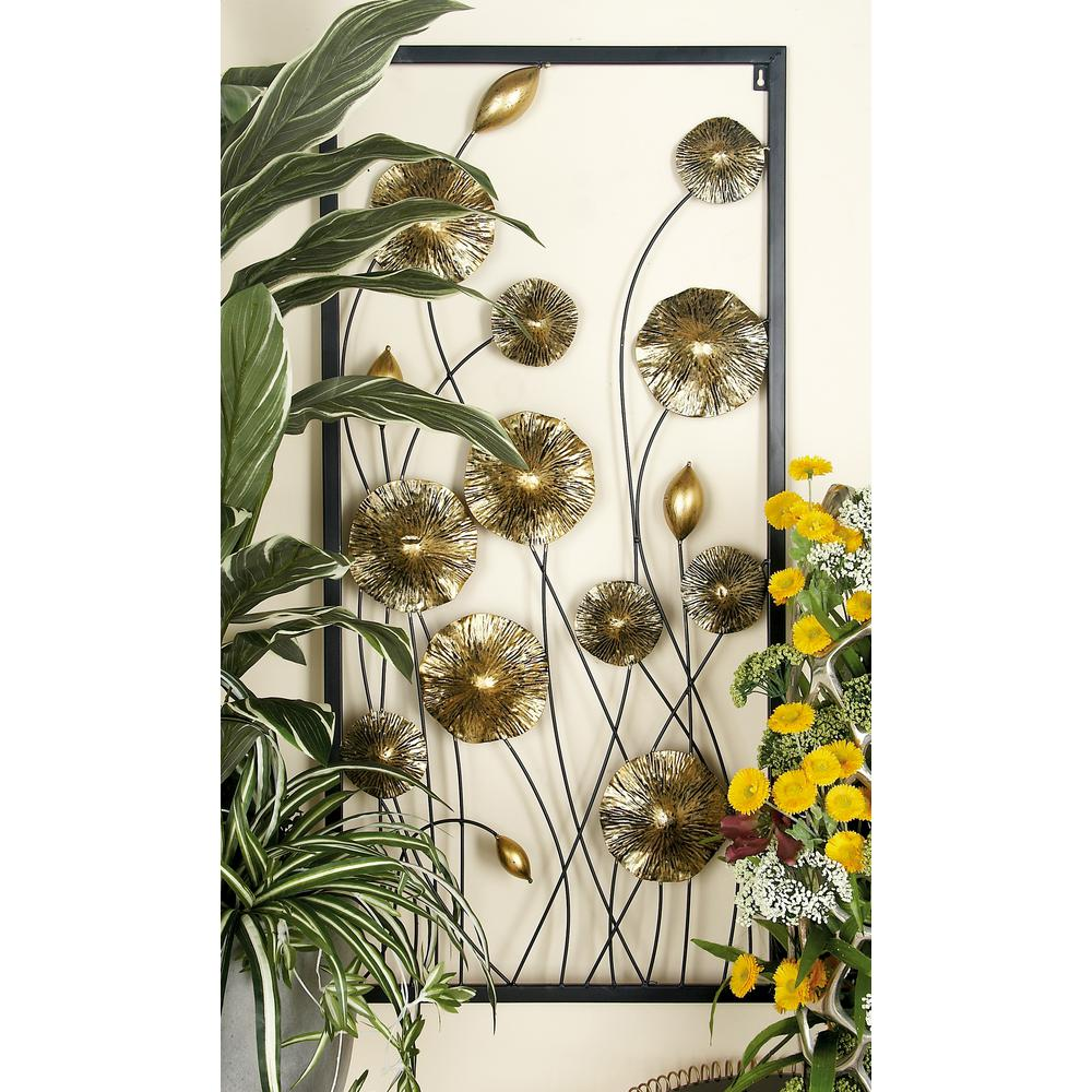 Iron Gold and Black Framed Flowers and Buds Triptych Metal Wall