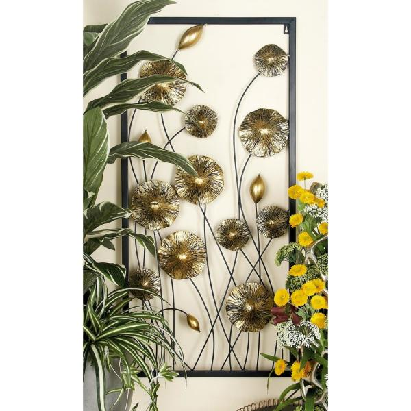 4479b1becf Litton Lane Iron Gold and Black Framed Flowers and Buds Triptych Metal Wall  Decor (Set