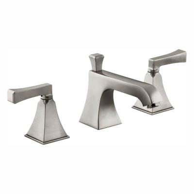 Memoirs 8 in. Widespread 2-Handle Low-Arc Water-Saving Bathroom Faucet in Brushed Nickel with Deco Lever Handles