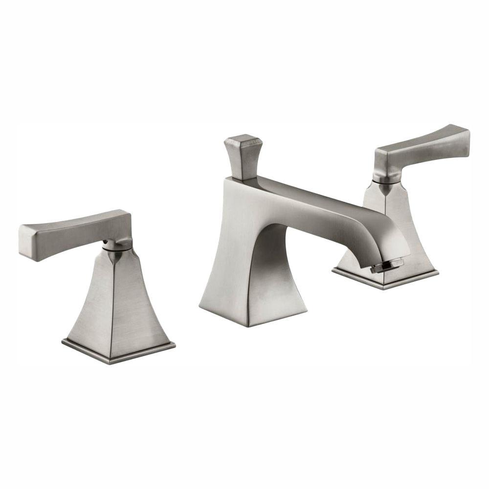 Memoirs 8 in. Widespread 2-Handle Low-Arc Water-Saving Bathroom Faucet in Brushed Nickel with Deco Lever Handles