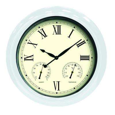 18 in. White Clock, Thermometer and Hygrometer