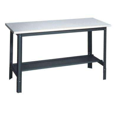 34 in. H x 60 in. W x 24 in. D Plastic Laminate Top Workbench with Shelf