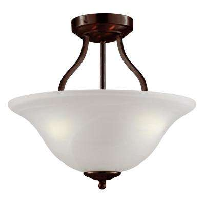 Traditional 3-Light Antique Bronze Semi-Flush Mount