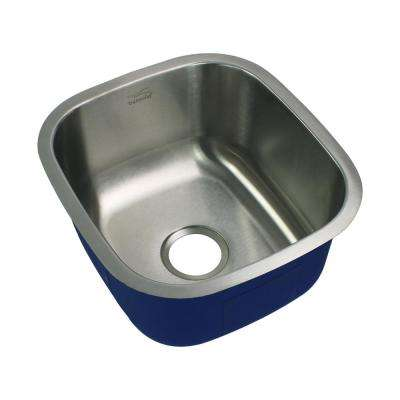 Meridian Undermount Stainless Steel 16.5 in. Single Bowl Kitchen Sink in Brushed Stainless Steel