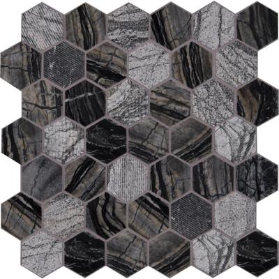 Henley Hexagon 12 in. x 12 in. x 10 mm Textured Marble Mesh-Mounted Mosaic Floor and Wall Tile (1 sq. ft.)