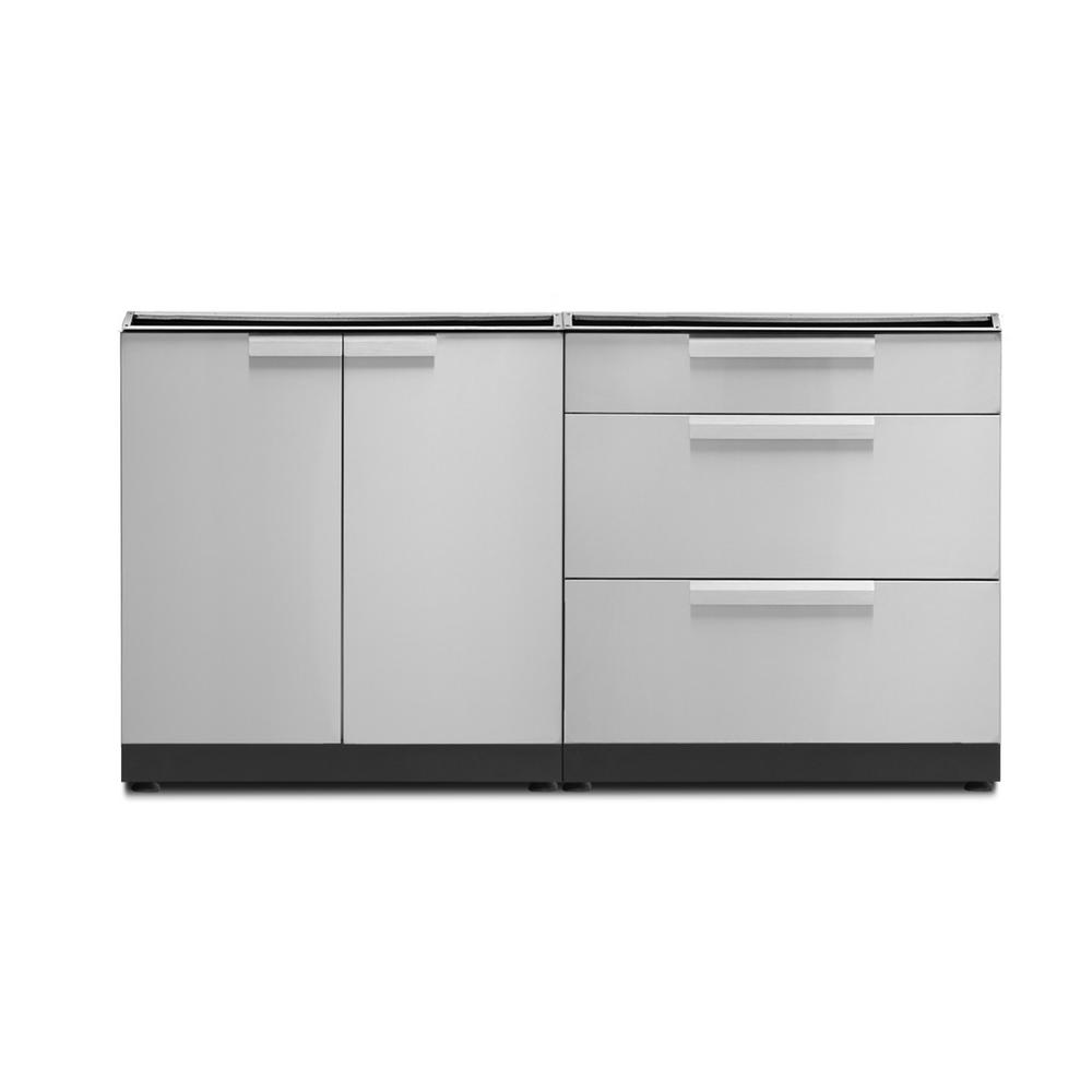 Stainless Steel 2-Piece 64 in. W x 36.5 in. H x 24 in. D Outdoor Kitchen Cabinet Set without Countertop