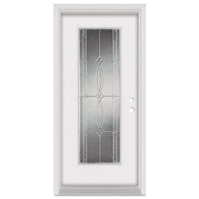 33.375 in. x 83 in. Diamanti Left-Hand Zinc Finished Fiberglass Mahogany Woodgrain Prehung Front Door Brickmould