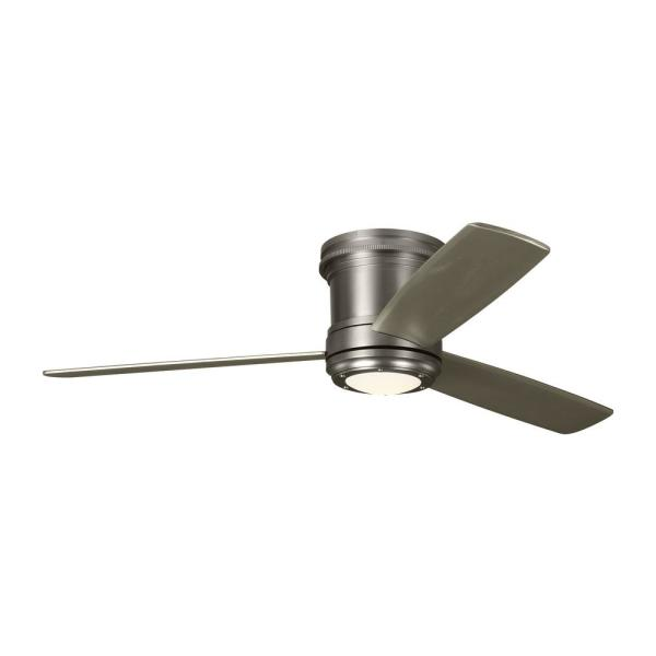 TOB by Thomas O'Brien Aerotour Semi-Flush 56 in. Integrated LED Indoor Satin Nickel Ceiling Fan with Light Kit