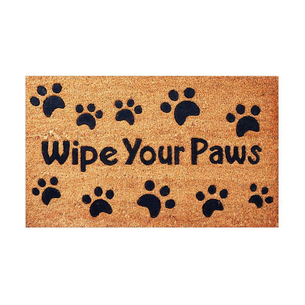 Envelor Wipe Your Paws Embossed 30 In X 18 In Coir Door Mat En Vc