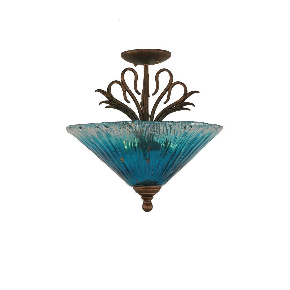 Concord 3-Light Bronze Incandescent Ceiling Semi-Flush Mount Light
