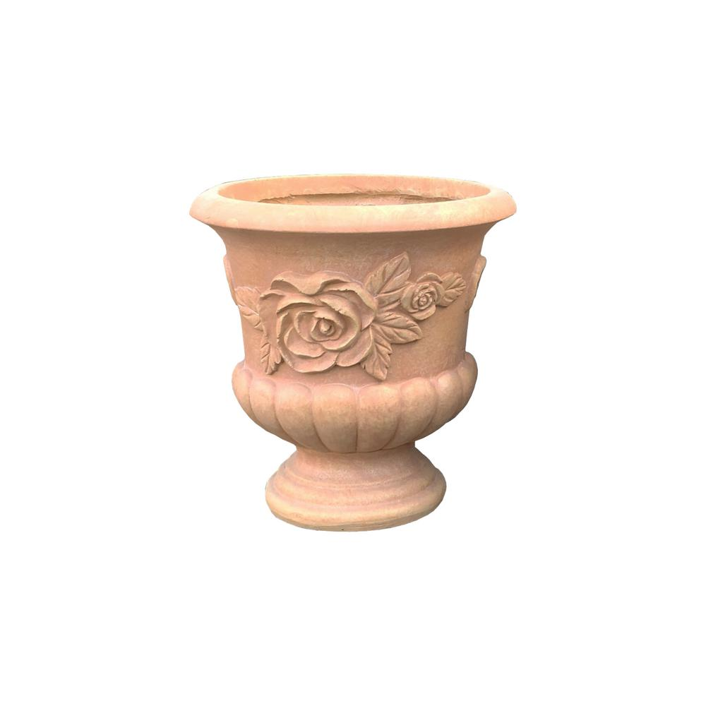 13.78 in. x 13.78 in. H Light Terracotta Lightweight Concrete Rose