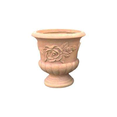 13.78 in. x 13.78 in. H Light Terracotta Lightweight Concrete Rose Large Urn Planter