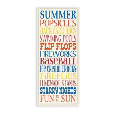 "7 in. x 17 in. ""Summer Fun In The Sun Colorful Typography"" by Words for the Soul Printed Wood Wall Art"