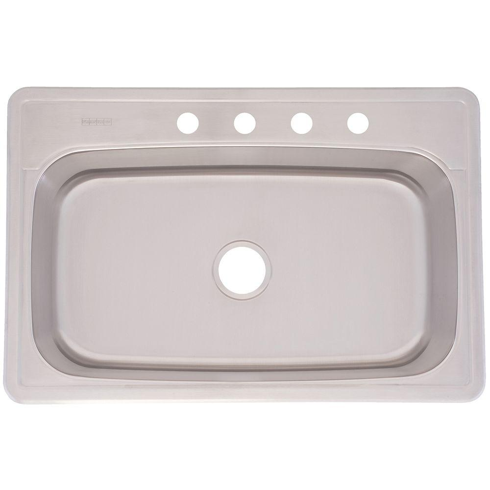 Franke Drop In Stainless Steel 33x22x8 4 Hole Single Basin Kitchen Sink